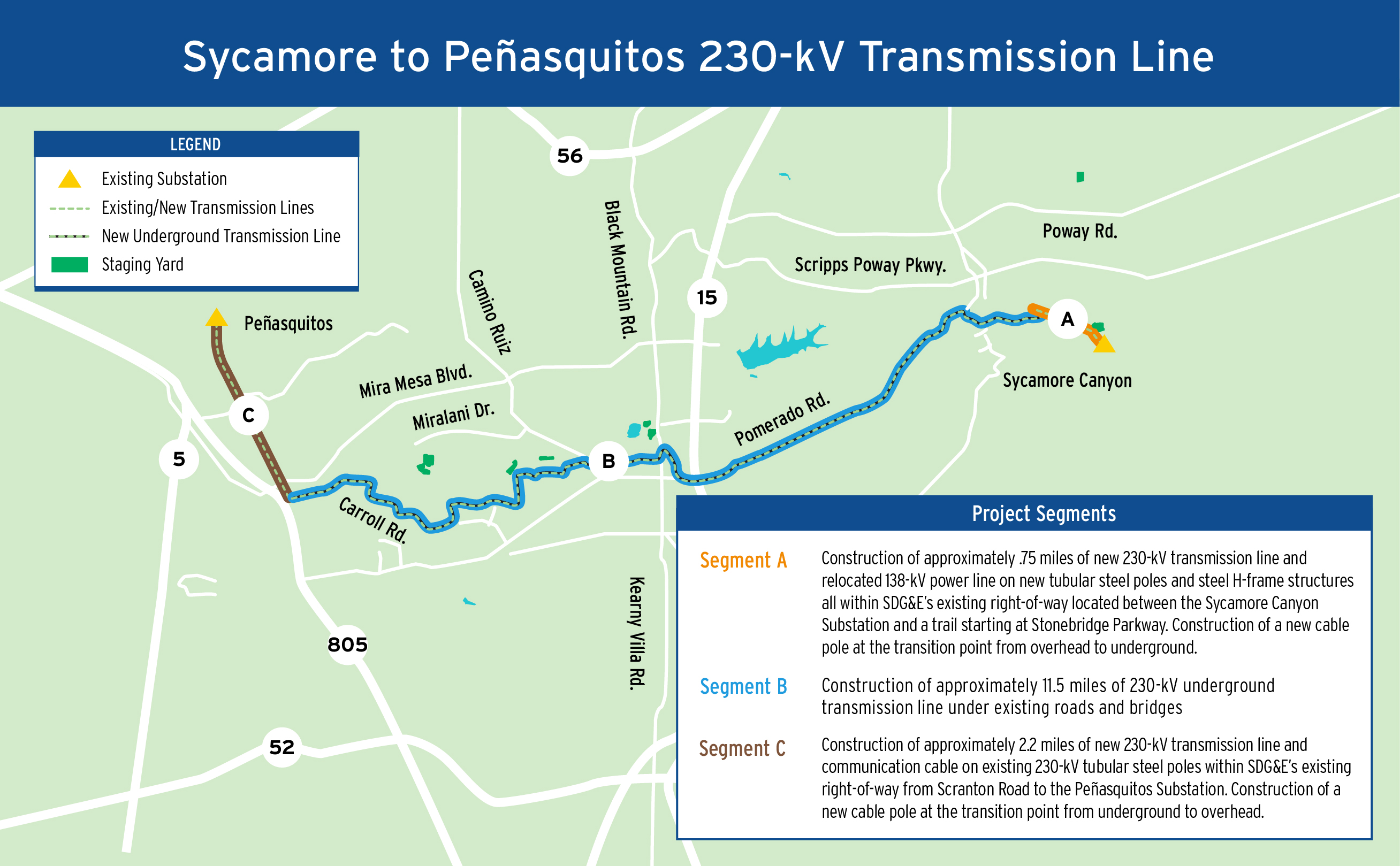 Sycamore to Peñasquitos 230-kV Transmission Line Project Map ... on xcel energy power outage map, pepco power outage map, pse power outage map, ppl power outage map, puget sound energy power outage map, smud power outage map, dte power outage map, aps power outage map, psnh power outage map, pg&e power outage map, austin energy power outage map, avista power outage map,
