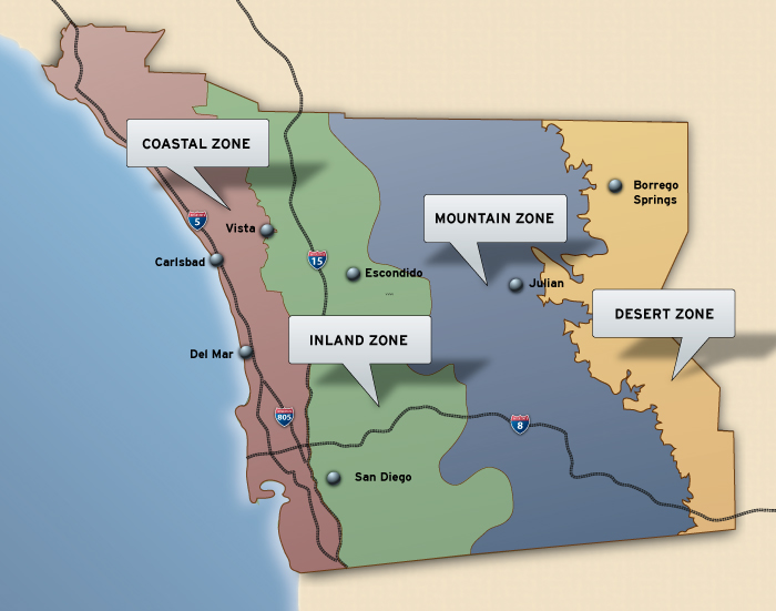 Map showing SDG&E's service territorydivided into four different climate zones: 1 Coastal, 2 Inland, 3 Mountain, and 4 Desert.