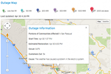 Screenshot of outage map application