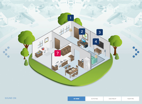 Clickable image of cut-away home that brings up energy tour of home.